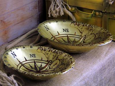 Diğer - Pusula Tasarımlı Altın Yaldızlı Derin Tabak 30cm
