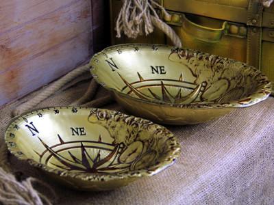 Diğer - Pusula Tasarımlı Altın Yaldızlı Derin Tabak 40cm