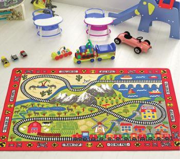 Railway Tren Yolu Desenli Çocuk ve Bebek Odası Oyun Halısı 133x190cm