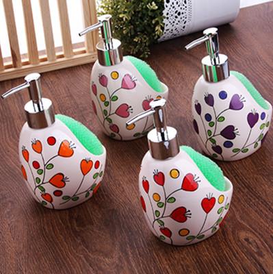 Renkli Desenli Süngerli Porselen Deterjanlık ve Sıvı Sabunluk - Thumbnail