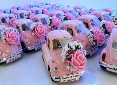 Diğer - Renkli VosVos Beetle Gelin Arabası Nikah ve Nişan Şekeri