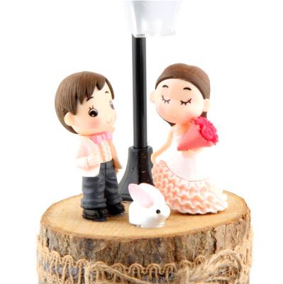 Romantik Sevgililer ve Tavşan Figürlü Işıklı Biblo - Thumbnail