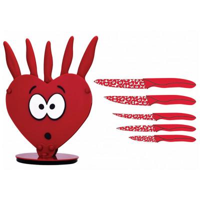 Rooc - Rooc Şaşkın Kalp Standlı Bıçak Seti 6 Parça Asorti