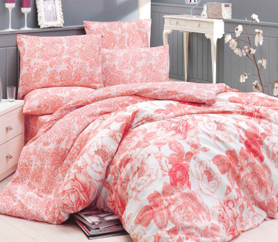 Diğer - Rosa Poly Cotton Çift Kişilik Nevresim Takımı Somon