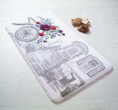 Confetti - Rose Basket Gül Desenli Oymalı Banyo Halısı Gri 80x140cm