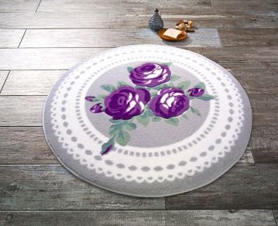 Confetti - Rose Bud Mor Gül Desenli Yuvarlak Banyo Halısı Gri 100cm