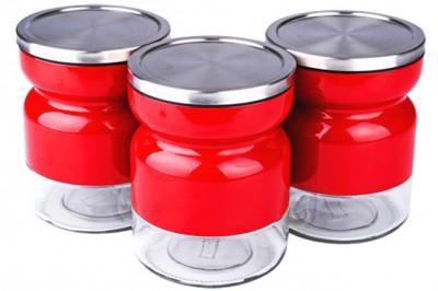 Royal Windsor - Royal Windsor Metal Giydirme Kavanoz Seti 3lü Kırmızı