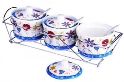 Royal Windsor - Royal Windsor Metal Standlı Kapak ve Kaşıklı 3lü Baharatlık Seti Mavi Çiçekli