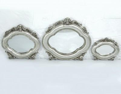 Diğer - Saray 3lü Oval Duvar Aynası Seti Gümüş