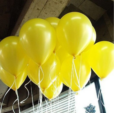 Diğer - Sarı Renkli Metalik Süsleme ve Parti Balonu 20li