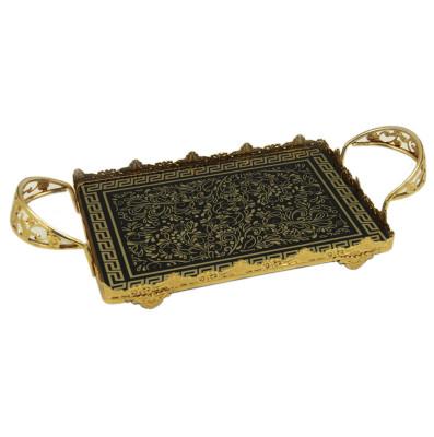 Diğer - Sarmaşık Desenli Kulplu Jardinyer Tepsi Gold 43cm