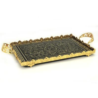 Diğer - Sarmaşık Desenli Kulplu Jardinyer Tepsi Gold 59cm