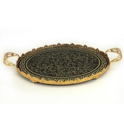 Diğer - Sarmaşık Desenli Kulplu Oval Jardinyer Söz Nişan Tepsisi Gold 59cm