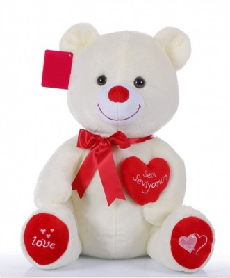 Seni Seviyorum Yazan Kalpli Peluş Ayıcık 46cm - Thumbnail