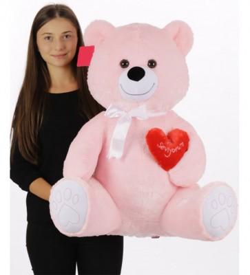 Selay - Seni Seviyorum Yazan Kalpli Peluş Ayıcık 70cm
