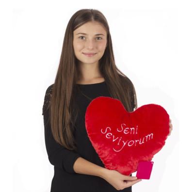Selay - Seni Seviyorum Yazılı Kalp Yastık 36cm