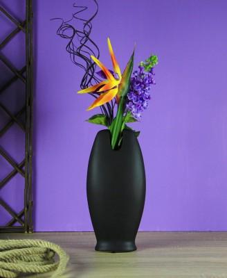 Ancel - Seramik Düz Vazo Siyah 30,5cm