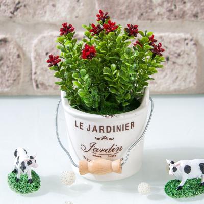 Diğer - Seramik Saksıda Mini Yapay Çiçek 15cm Kırmızı