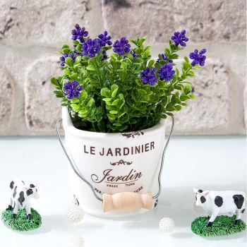 Seramik Saksıda Mini Yapay Çiçek 15cm Mor