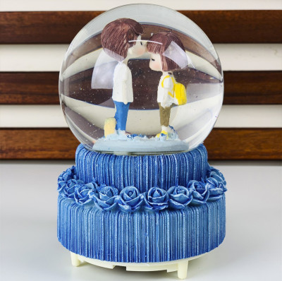 Diğer - Sevimli Aşıklar Büyük Boy Işıklı Müzikli Kar Küresi Mavi