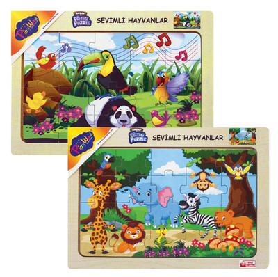 Diğer - Sevimli Hayvanlar Eğitici Ahşap Puzzle