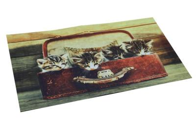 Diğer - Sevimli Kediler Dijital Kapı Önü Paspası 40x65cm