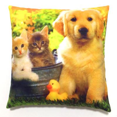Diğer - Sevimli Köpek ve Kediler Dekoratif Kırlent Kılıfı 43cm