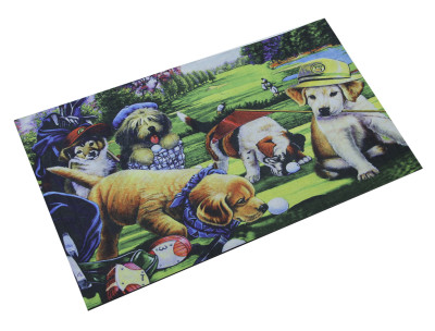 Diğer - Sevimli Köpekler Dijital Kapı Önü Paspası 40x65cm