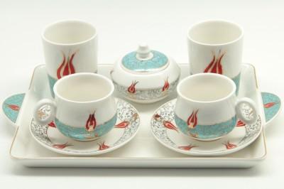 Sima Porselen - Sima Porselen 8 Parça Lale Desenli Kahve Takımı Beyaz
