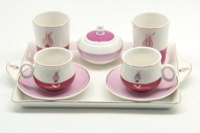 Sima Porselen - Sima Porselen 8 Parça Lale Desenli Kahve Takımı Pembe