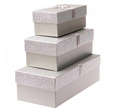 Diğer - Simli Dikdörtgen Hediye Kutusu Gümüş 3lü Set