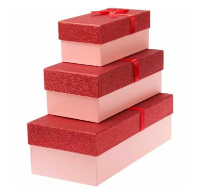 Diğer - Simli Dikdörtgen Hediye Kutusu Kırmızı 3lü Set