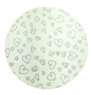 Diğer - Simli Kalp Desenli Tül Süsleme ve Kavanoz Kesesi 50li Gümüş