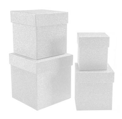 Diğer - Simli Kare Hediye Kutusu Beyaz 4lü Set