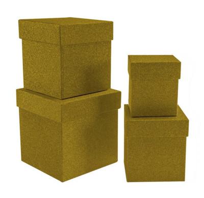 Diğer - Simli Kare Hediye Kutusu Gold 4lü Set