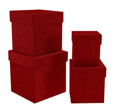Diğer - Simli Kare Hediye Kutusu Kırmızı 4lü Set
