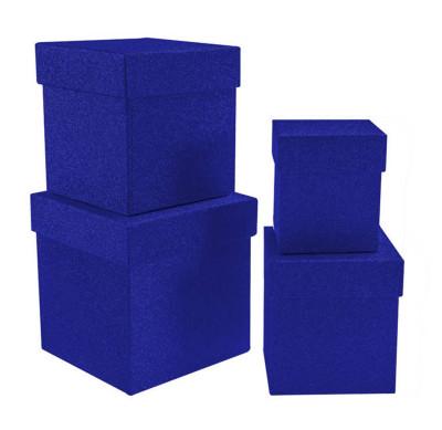 Diğer - Simli Kare Hediye Kutusu Mavi 4lü Set