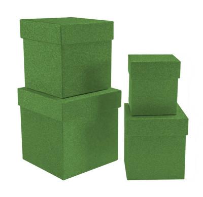 Diğer - Simli Kare Hediye Kutusu Yeşil 4lü Set