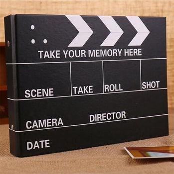 Sinema Klaketi Şeklinde Siyah Yapraklı Fotoğraf Albümü