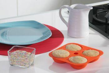 Softbowl 4lü Yuvarlak Silikon Muffin Kalıbı