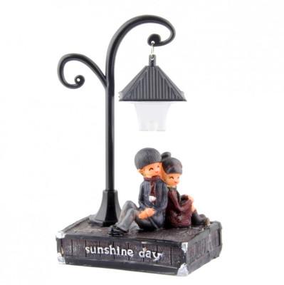 Diğer - Sokak Lambası ve Romantik Aşıklar Işıklı Biblo