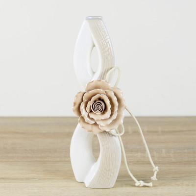 Diğer - Sonsuzluk Tasarımlı Gül Kabartmalı Porselen Vazo 25cm