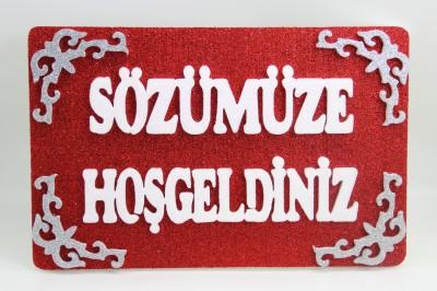 Diğer - Sözümüze Hoşgeldiniz Yazılı Duvar ve Kapı Süsü Kırmızı