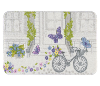 Confetti - Spilled Flowers Oymalı Banyo Halısı Mor 80x140cm