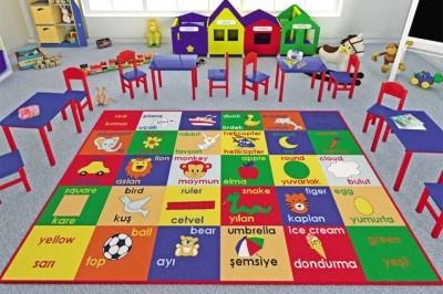 Confetti - Study Time İngilizce Türkçe Yazılı Çocuk Odası ve Anaokulu Halısı 133x190cm