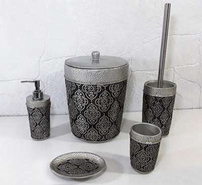 Diğer - Sultan Motifli Lüks Banyo Seti 5 Parça Gümüş