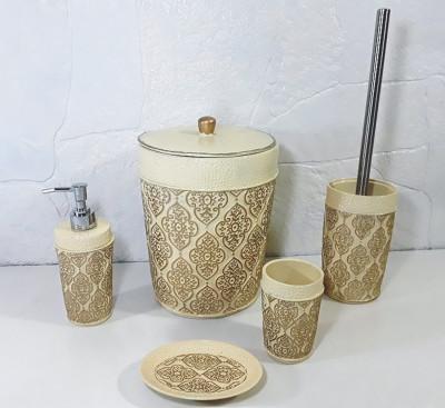 Diğer - Sultan Motifli Lüks Banyo Seti 5 Parça Krem