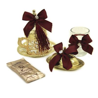 Diğer - Süslemeli Damat Kahve Fincanı Seti Bordo Gold