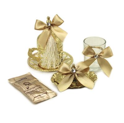Diğer - Süslemeli Damat Kahve Fincanı Seti Gold