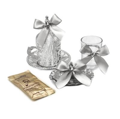 Diğer - Süslemeli Damat Kahve Fincanı Seti Gümüş